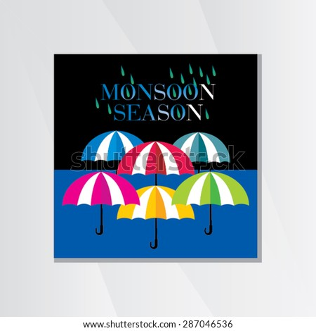 creative umbrella with rain drop over blue black background