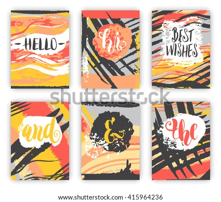Creative universal cards set. Hand painted textures. Wedding, anniversary, birthday, Valentine's day, party. Banner, invitation, brochure, poster or card design template. Vector illustration  - stock vector