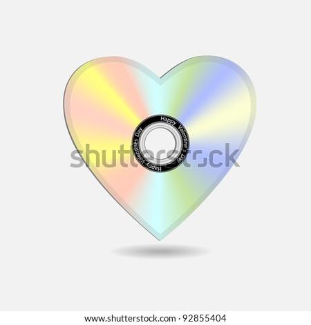 Creative Valentine heart in shape CD.Vector eps10 - stock vector