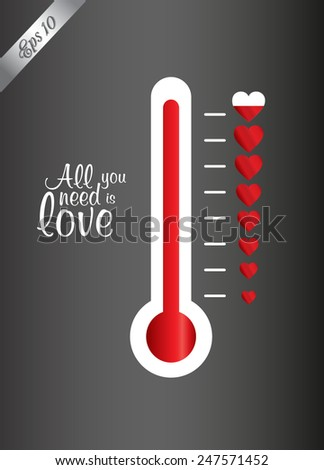 Creative Valentine's Day concept card vector illustration. Hot love temperature progress - stock vector