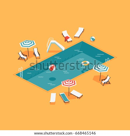 Creative vector concept illustration on isometric swimming pool with chaise lounges, parasol umbrellas, beach balls and more