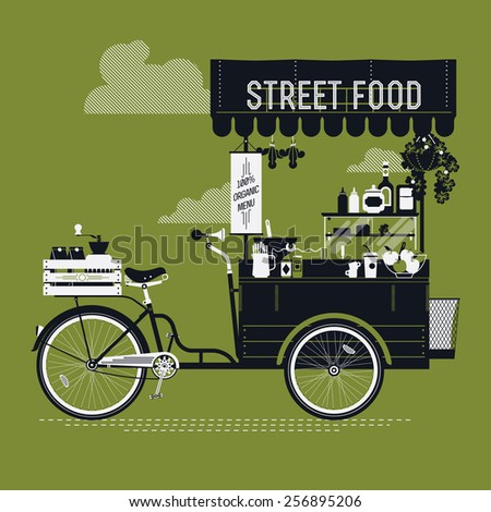 Creative vector detailed graphic design on street food with retro looking vending bicycle cart with awning, refreshments, bowls, bottles, wooden crate on rear rack and more | Mobile cafe illustration - stock vector