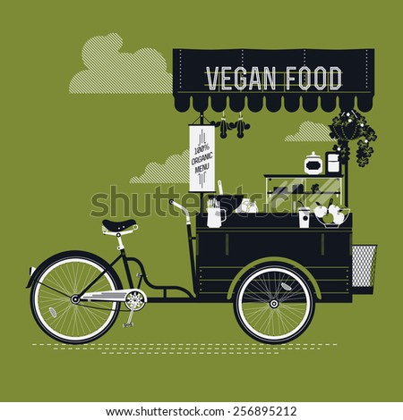 Creative vector detailed graphic design on vegan food with retro looking vending bicycle cart with awning, refreshments, bowls, bottles, wooden crate on rear rack and more | Mobile cafe illustration - stock vector