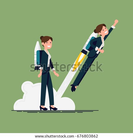 Creative vector flat character design on businesswoman using jet pack and lifts off the ground. Career boost concept illustration