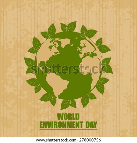 Creative vector illustration of Earth with lot of leaf around it in a creative brown color background for World Environment Day. - stock vector