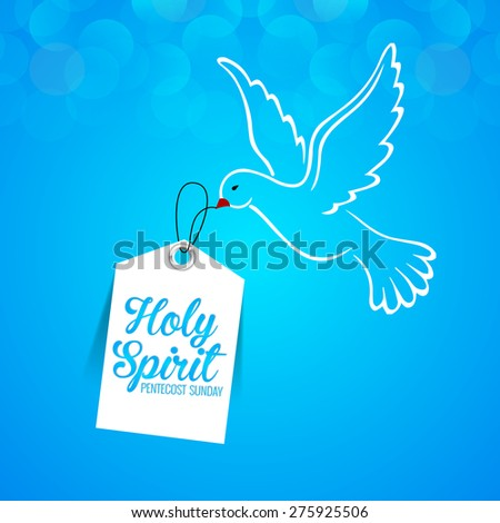 Creative vector illustration of Holy Spirit Pigeon for Pentecost Sunday in a crisp and creative blue color background. - stock vector