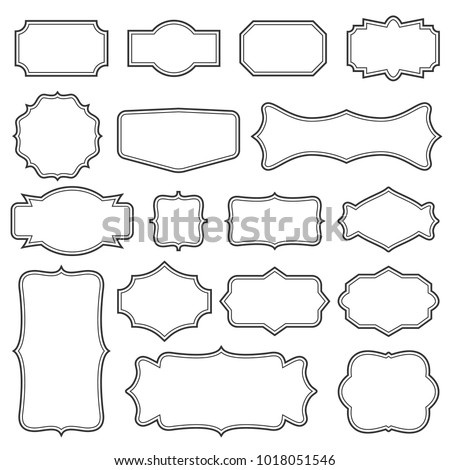 Creative vector illustration set of decorative vintage frames isolated on transparent background. Art design border labels. Blank frames template. Abstract concept graphic retro element