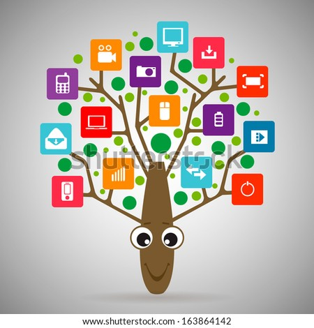 Creative vector tree  with colorful application infographics icon. Vector illustration creative template design, Business software and social media concept. - stock vector