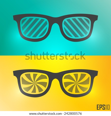 Creative Vintage Glasses Design. Vector Elements. Isolated Retro Sunglasses Illustration. EPS10 - stock vector