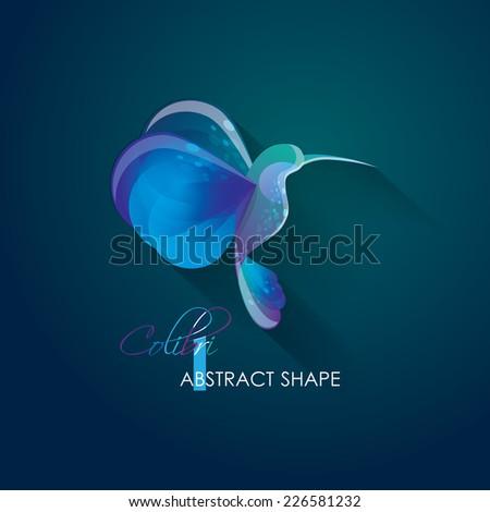 creative vivid bright abstract colibri hummingbird vector illustration- logo element isolated on dark nocturnal background - stock vector