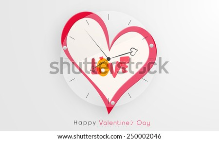 Creative wall clock with heart and text Love for Happy Valentine's Day celebration. - stock vector