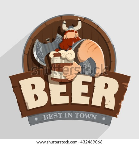 Creative wall street pub bar beer shop character sign board design Old fashioned style signboard - stock vector