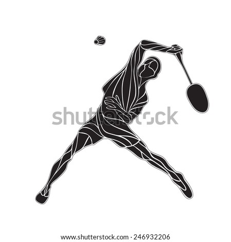 Creative waves silhouette of abstract male badminton player jumping for smash shot - stock vector