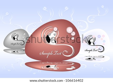 Creative web concept - Girl with flowers advertising means for hair - stock vector