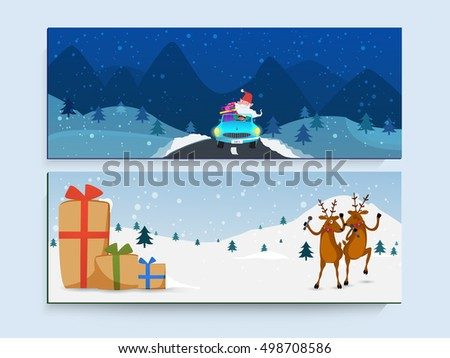 Creative website header or banner set with illustration of Santa Claus in car, Dancing Reindeers and Big Gift Boxes on winter background.