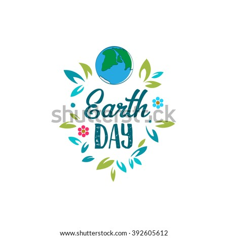 Creative World Environment Day Greeting stock vector. Earth Day logo. April holiday illustration with cartoon earth planet, leaves and flowers, and typography tag. Save green earth sign. Eco friendly - stock vector