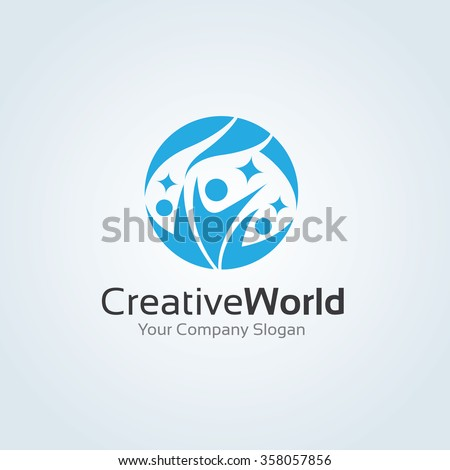 Creative World logo,family logo,world logo,people logo,vector logo template - stock vector