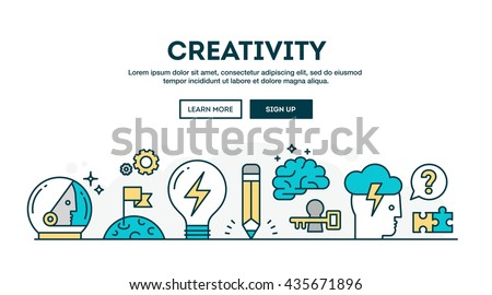 Creativity, colorful concept header, flat design thin line style, vector illustration - stock vector
