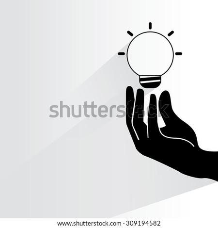 creativity, hand holding light bulb - stock vector