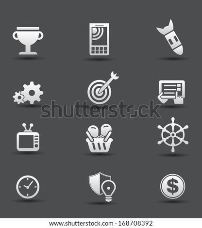 Creativity icons,wood style,vector - stock vector