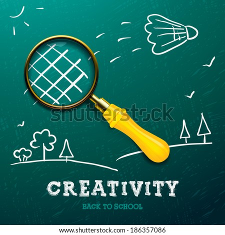 Creativity learning. Racket made with magnifying glass - sketch on the blackboard, vector image. - stock vector