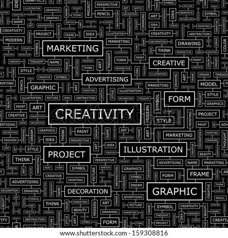 CREATIVITY. Seamless pattern. Word cloud illustration. Vector illustration. - stock vector