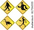 Creature crossing signs - stock photo