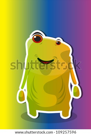 Creature, Smiling Alien, Yellow Green, vector illustration - stock vector