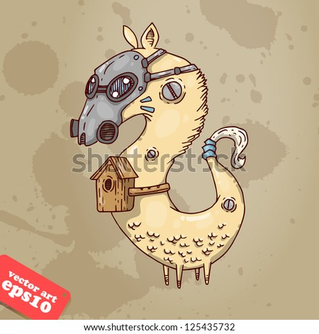 creature with a mask and bird houses - stock vector