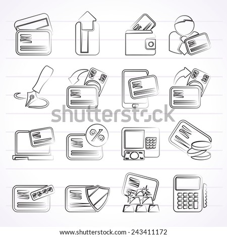 credit card and ATM icons - vector icon set - stock vector