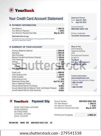 Credit Card Bank Account Statement Finance Document Template
