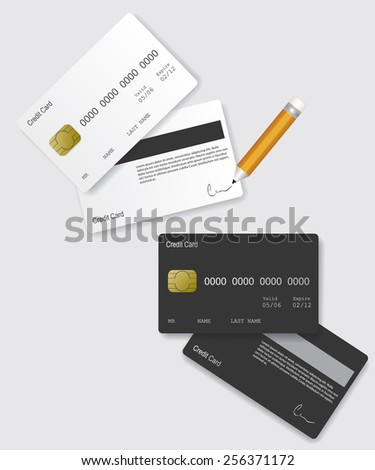 Credit card black and white - stock vector