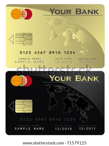 Credit card Black Gold  vector template - stock vector