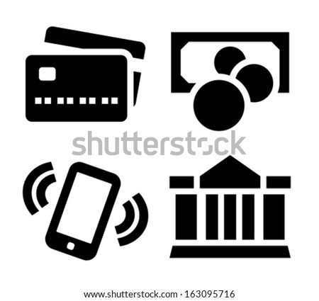 Credit card, cash, mobile phone and bank transfer black vector icons isolated on white background