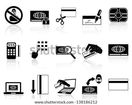 credit card concept icons set - stock vector