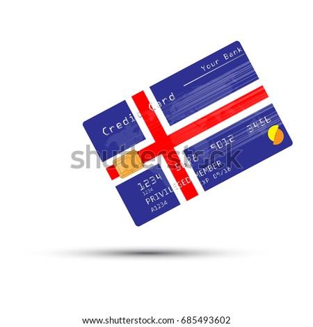 Credit Card covered with Iceland flag. Vector illustration