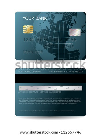 Credit card design with globe - stock vector