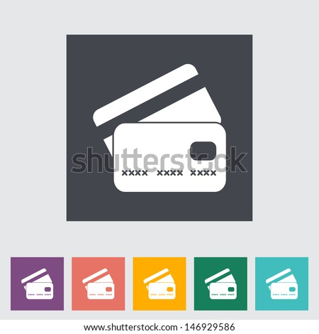 Credit card flat single icon. Vector illustration. - stock vector