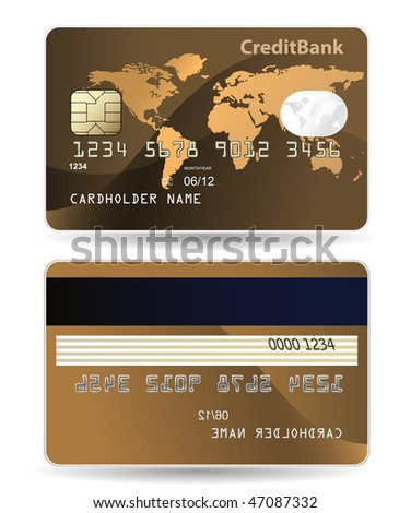 Credit card. Highly detailed illustration of credit card with world map, chip, embossed digits and hologram. - stock vector