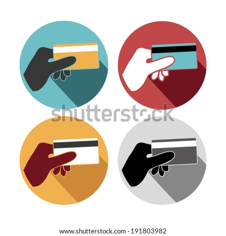 Credit card holding set icons - stock vector
