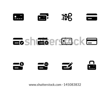Credit card icons on white background. Vector illustration. - stock vector