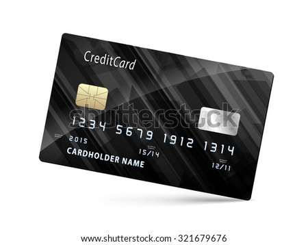 credit card isolated on white background vector - stock vector