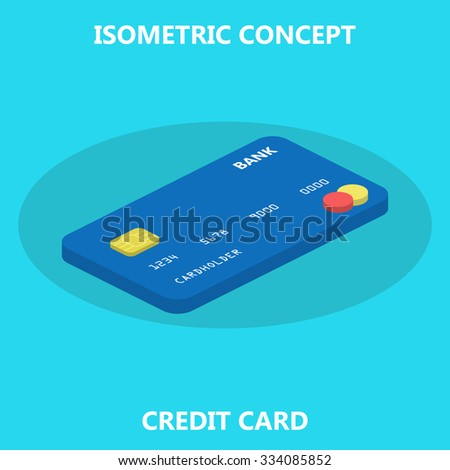 Credit card isometric 3d flat style stock vector 334085852 credit card isometric 3d flat style conceptflat element for web design business reheart Choice Image
