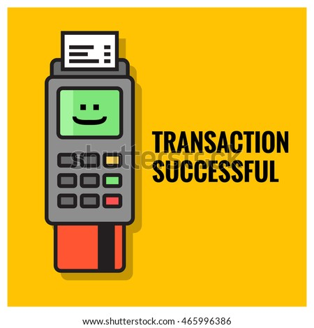 Credit Card Machine Transaction Successful (Line Art Vector Illustration in Flat Style Design)