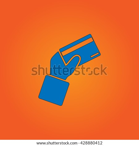 Credit card payment in hand. Blue flat icon with black stroke on orange background. Collection concept vector pictogram for infographic project and logo