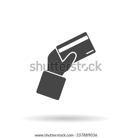 Credit card payment in hand. Icon Vector - stock vector