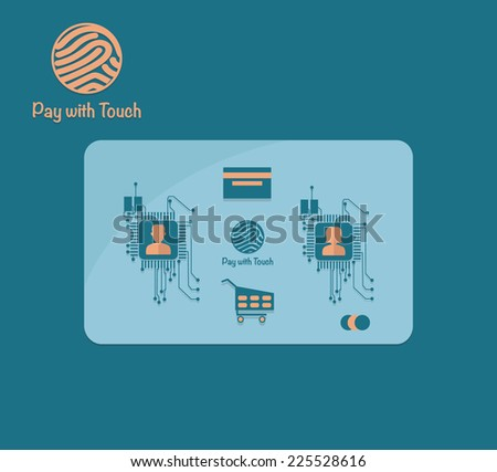Credit card payment in security mode concept. Abstract background with integrated chips and icons. - stock vector