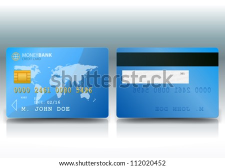 Credit Card Sample/ Illustration of a detailed credit card sample with both sides with an outlined world map background - stock vector