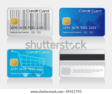 Credit Card Set 1 Vector Drawing - stock vector