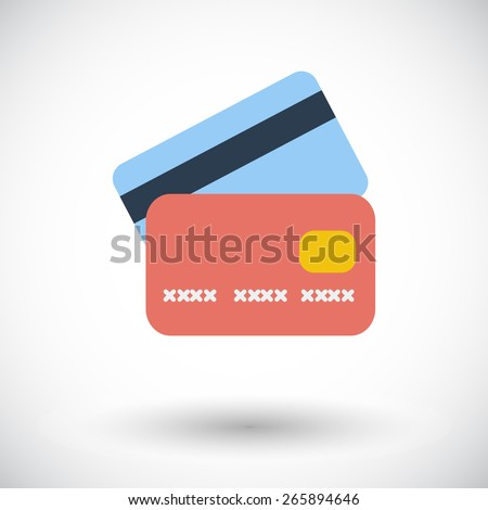 Credit card. Single flat icon on white background. Vector illustration. - stock vector